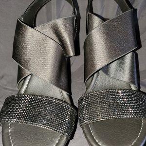 Dark silver wedge sandals